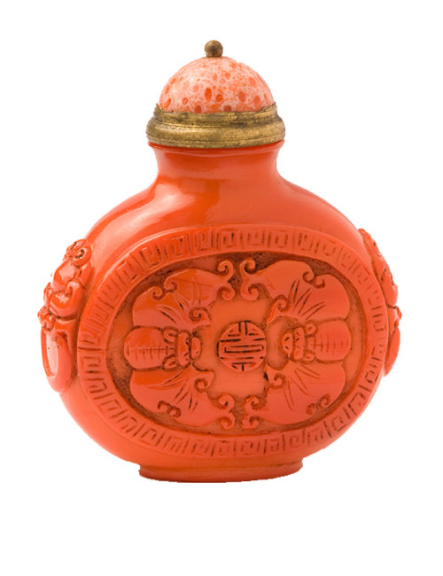 Qing Dynasty Coral Snuff Bottle