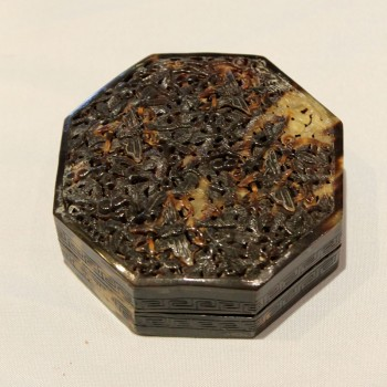 Antique Chinese tortoise shell carving box/case