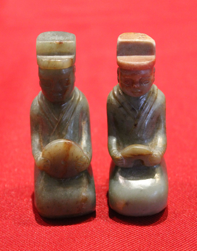 Chinese Antique - Han Dynasty Green Jade 2 figures