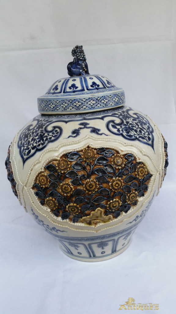Antique Chinese Porcelain Blue And White Vase Late Yuan Early Ming