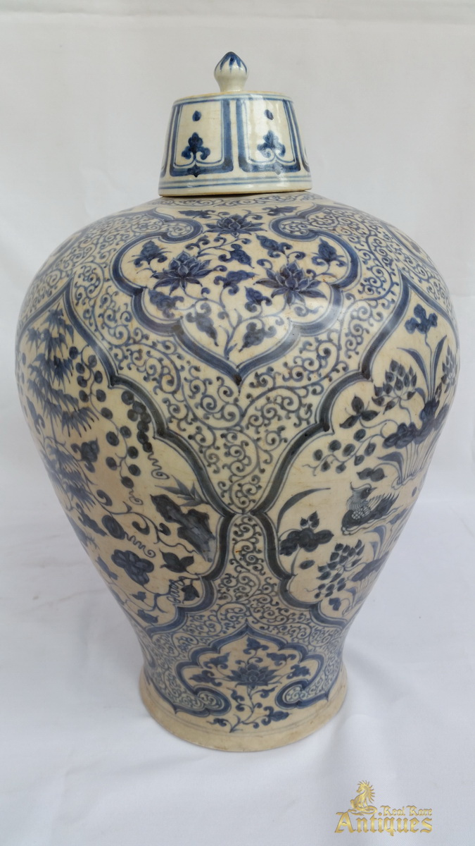 Antique chinese blue and white porcelain ming vase with cover antique chinese blue and white porcelain ming vase with cover real rare antiques floridaeventfo Images