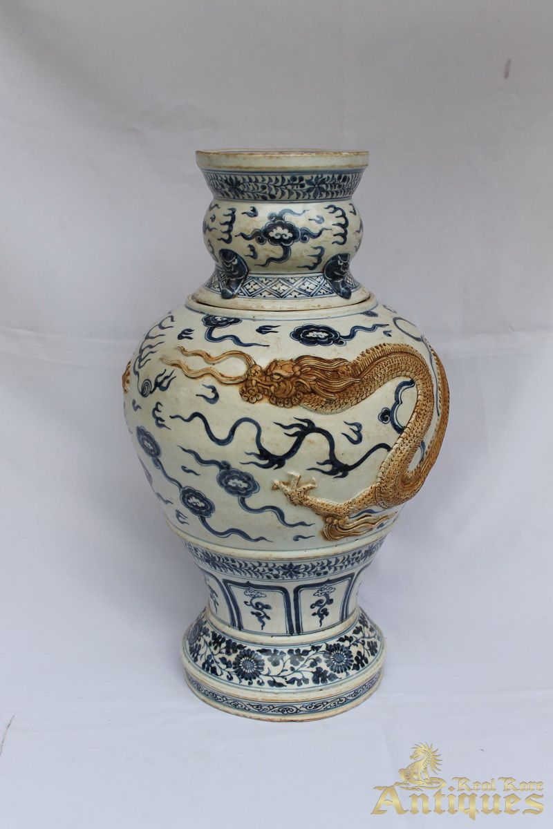 antique chinese blue and white porcelain late yuan ming vase 250000 - Ming Vase