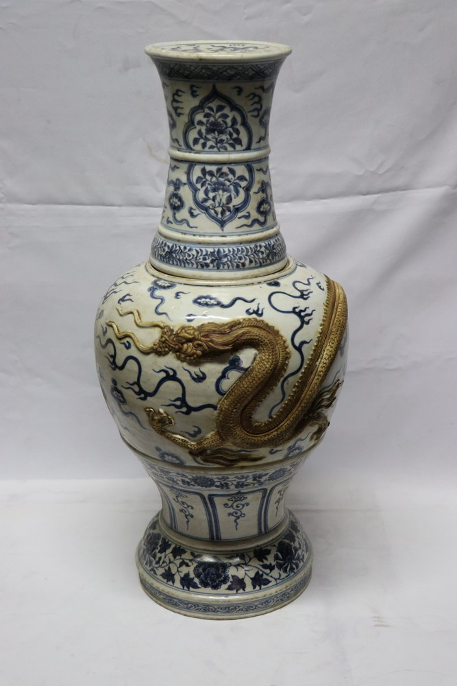 rare antique chinese blue and white porcelain ming vase with clay dragon real rare antiques - Ming Vase